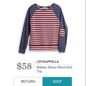 Loveappella ❤️🤍💙 Striped with Elbow Patch (M)